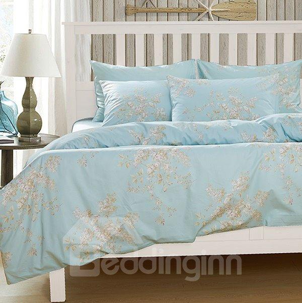 Elegant Fresh Floral Print 4-Piece Natural Cotton Duvet Cover Sets