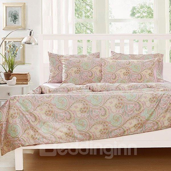 Graceful Cirrus Print 4-Piece Natural Cotton Duvet Cover Sets
