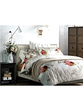 Attractive Pomegranate Print 4-Piece Long Stapled Cotton Duvet Cover Sets