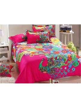 Stunning  Peacock Showing Tail Print  4-Piece Cotton Duvet Cover Sets