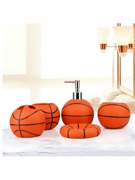 Unique Fashion Basketball Shaped 5-Pieces Bathroom Accessories