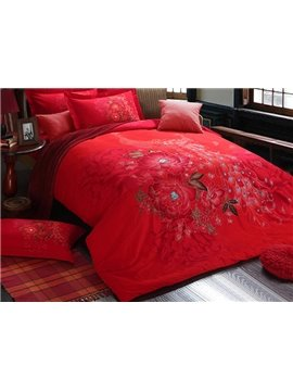 Peacock and Flower Print  4-Piece Cotton Duvet Cover Sets