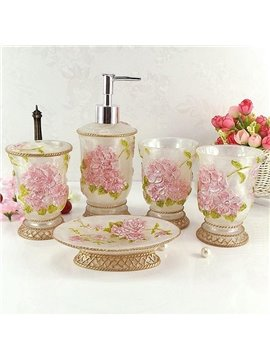 Romantic Azalea Carving 5-Pieces Resin Bathroom Accessories