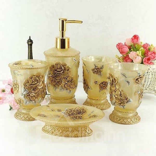 Romantic Azalea Carving 5 Pieces Resin Bathroom