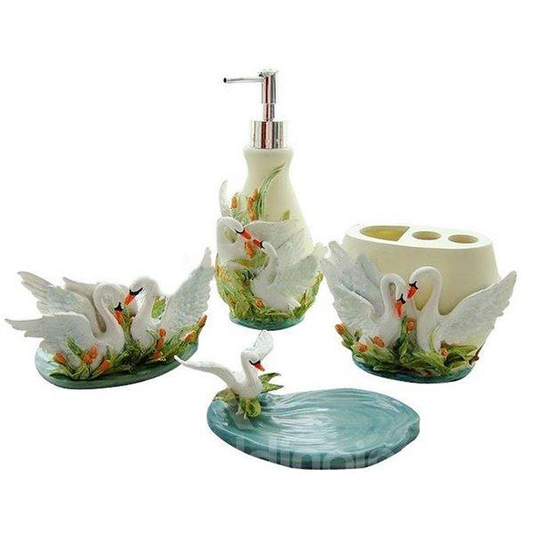 romantic sweet couple swan resin 5 piece bathroom accessories