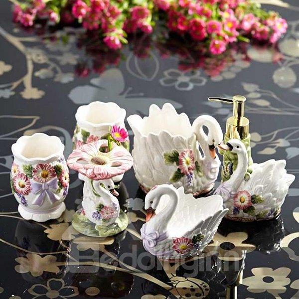 romantic swan floral ceramic 6 piece bathroom accessories