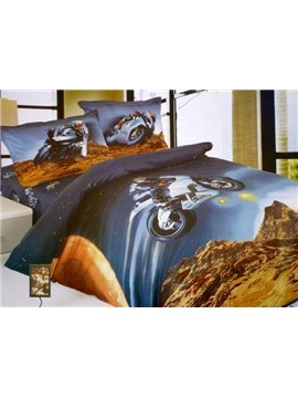 Flying Motorcycle Print 3-Piece Cotton Duvet Cover Sets