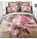 Vivid Blossoming Pink Rose Print 4-Piece Cotton Duvet Cover Sets