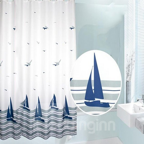 Concise Boat Flying Gull Print Shower Curtain