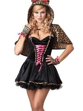 Sexy  Hooded Mini Skirt Leopard Pattern Costume
