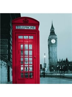 Chic London Big Ben behind Red Telephone Box Printing 3D Shower Curtain