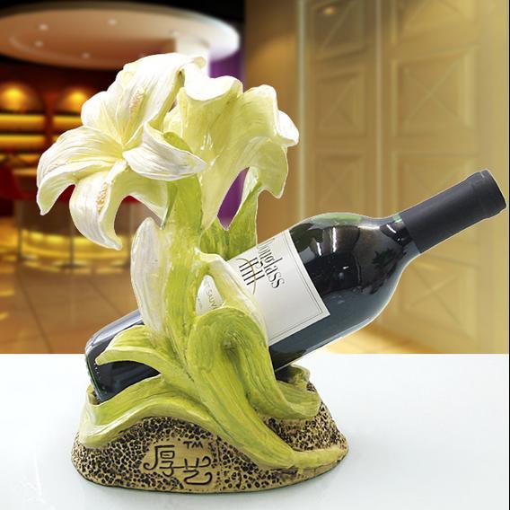 Pretty European Lily Flower Resin Wine Rack