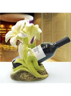 Pretty European Lily Flower Resin Wine Rack
