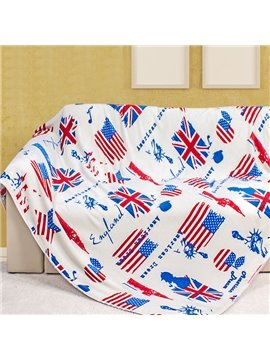 Creative American Flag and Statue of Liberty Pattern Flannel Blanket