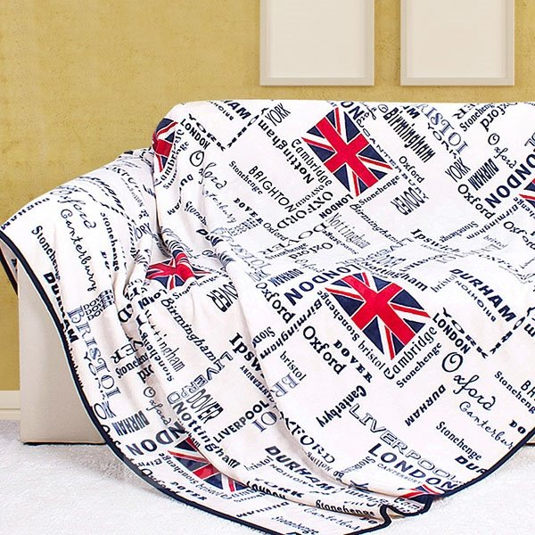United Kingdom Flag and Letters Pattern Coral Blanket