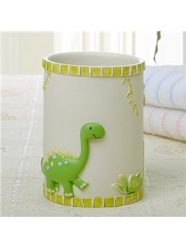 Adorable Cartoon Green Dinosaur Round Tooth Mug