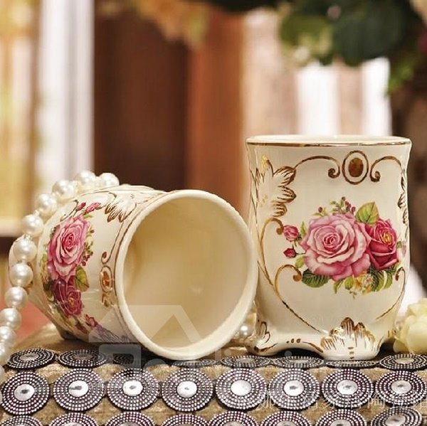 Romantic European Style Fragrance Rose Ceramic Tooth Mug