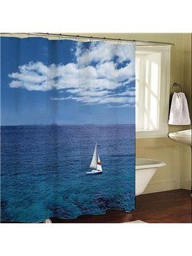Roomy Sea Sky Sailing Blue Dacron Shower Curtain