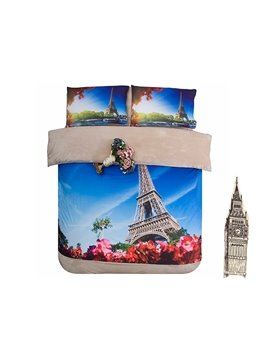 Eiffel Tower and Red Flower Print 4-Piece Coral Fleece Duvet Cover Sets