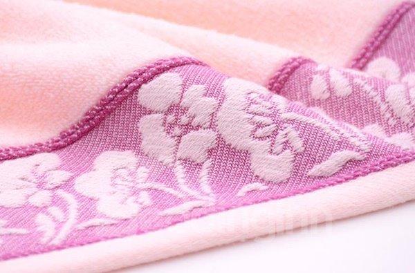 Plush Super Cozy Flower Border Cotton Towel