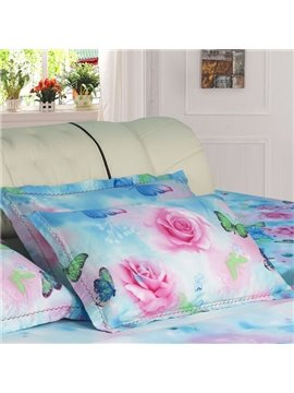 Fantastic Pink Flowers and Green Butterflies Romantic Bed Pillow Case