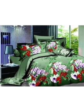 Purple Flower and Red Fruit Print 4-Piece Polyester Duvet Cover Sets