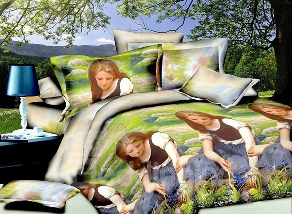 Innocent Girl Laying on the Grass Print 4-Piece Polyester Duvet Cover Sets