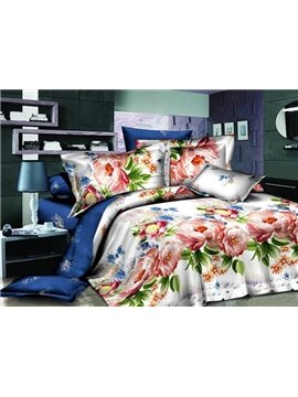 Fairy Tale Flower Print 4-Piece Polyester Duvet Cover Sets