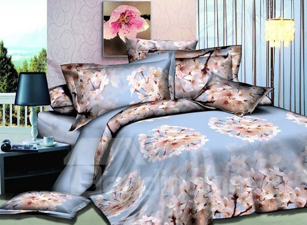 Peach Blossom Print 4-Piece Polyester Duvet Cover Sets 11219232