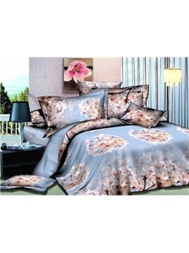 Peach Blossom Print 4-Piece Polyester Duvet Cover Sets