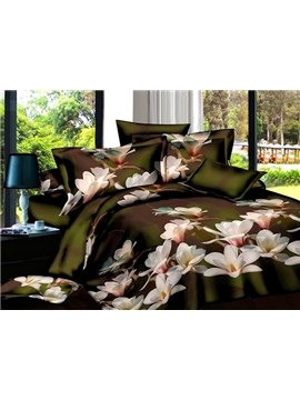 Wonderful White Flower Print 4-Piece Polyester Duvet Cover Sets
