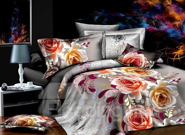 Delicate Flower Print 4-Piece Polyester Duvet Cover Sets