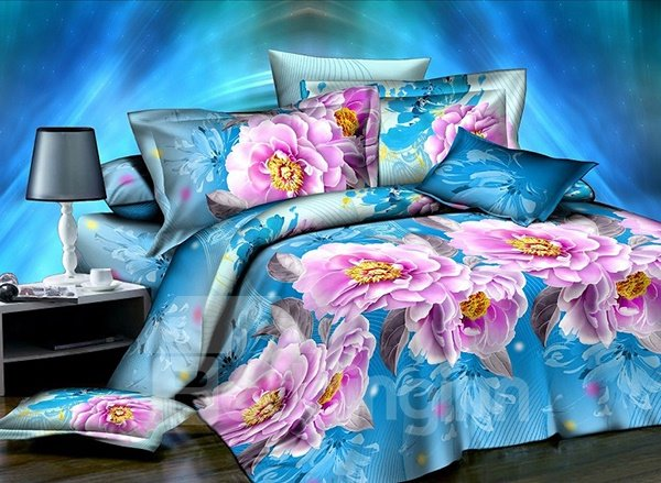 Pink Peony Print 4-Piece Polyester Duvet Cover Sets