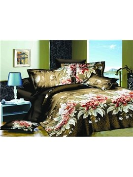 Luxury Graceful Flower Print 4-Piece Polyester Duvet Cover Sets