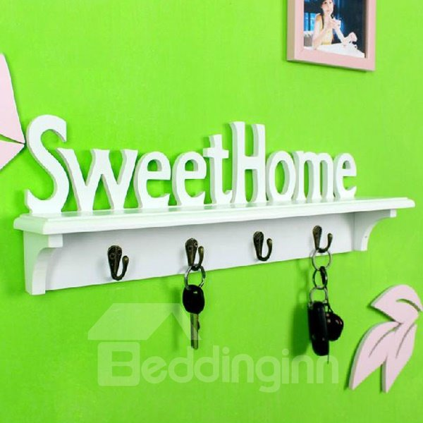 Decorative Practical  Sweet Home Words White Hooks