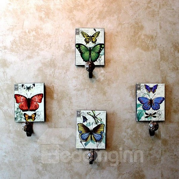 Romantic Rural Style Colorful Butterfly 4-piece Decorative Hooks