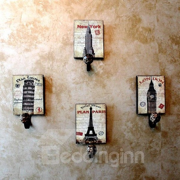 Stylish European Famous Tower Design 4-piece Decorative Hooks