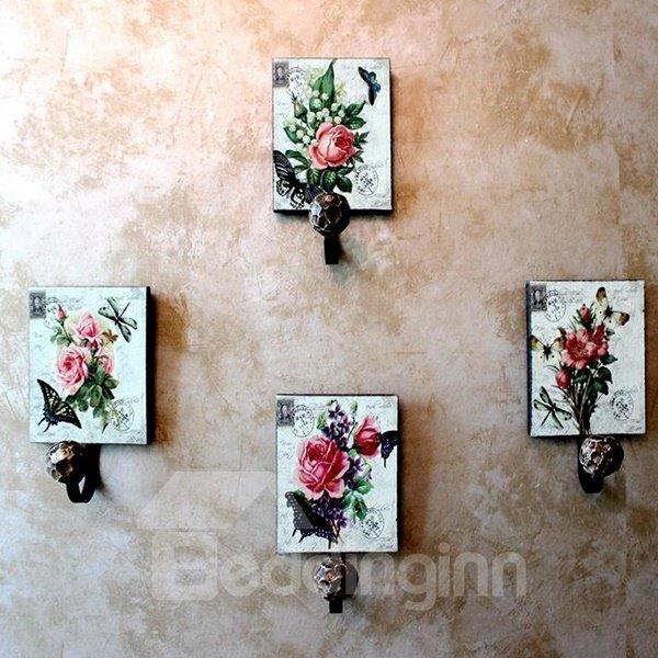 Dreamlike Flying Butterflies Flowers 4-piece Decorative Hooks