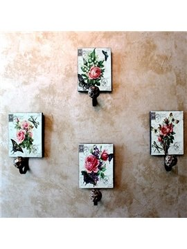 Dreamlike Flying Butterflies Flowers 4-piece Decorative Hooks