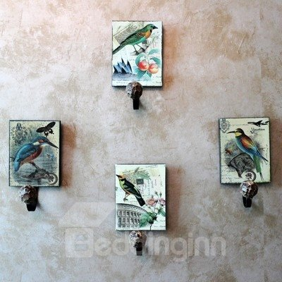 Retro Fabulous Elegant Birds Painting 4-piece Decorative Hooks