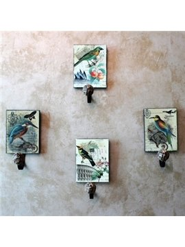 Retro Fabulous Elegant Birds Painting 4-piece Decorative Hooks