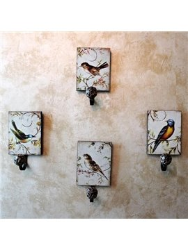 Fabulous Elegant Birds Painting 4-piece Decorative Hooks