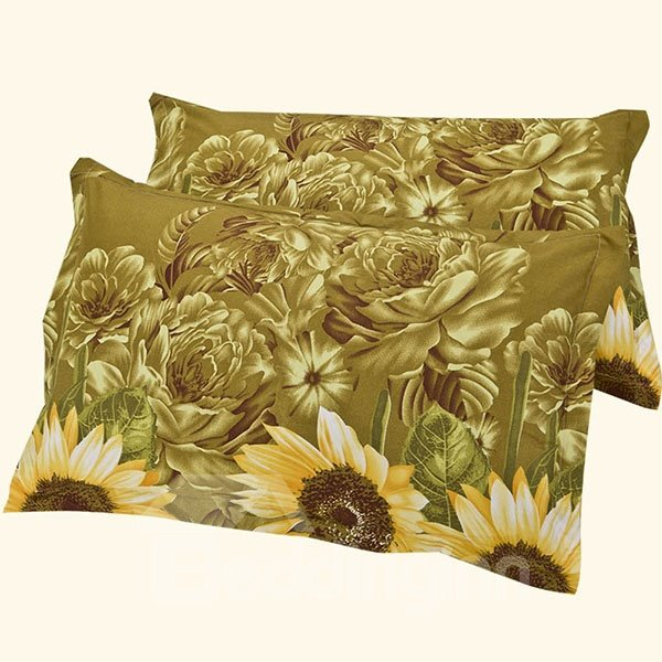 Green Leaves and Bright Yellow Sunflowers Pattern Aloe Cotton One Pair Pillow Case