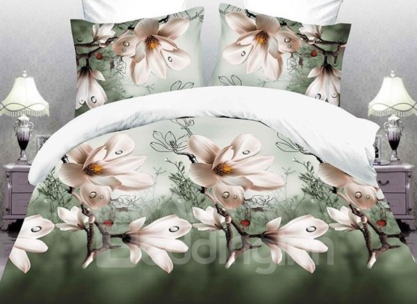 Noble Magnolia Flower Print 4-Piece Polyester Duvet Cover Sets