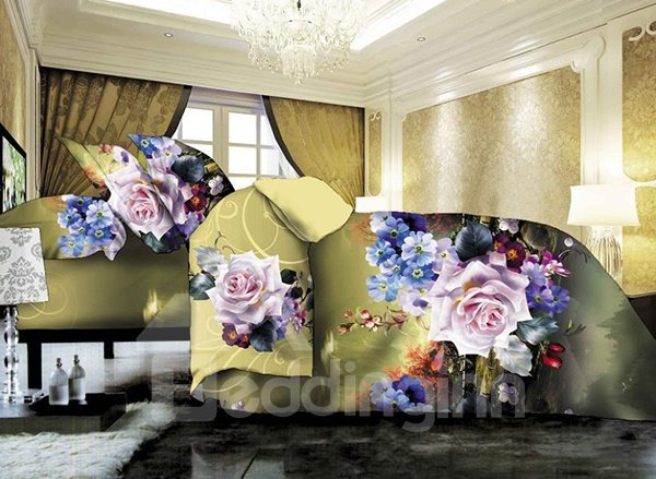 Dreamlike Flower Fairyland Print 4-Piece Polyester Duvet Cover Sets
