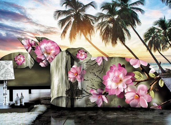 Amazing Spring Pink Flower Print 4-Piece Polyester Duvet Cover Sets
