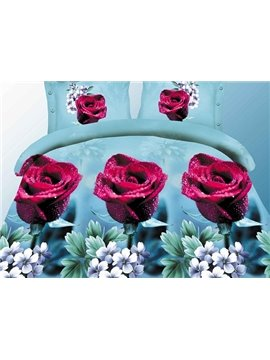 Dark Red Rose Print 4-Piece Polyester Duvet Cover Sets