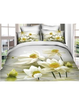 Delightful 3D White Lotus Print 4-Piece Cotton Duvet Cover Sets