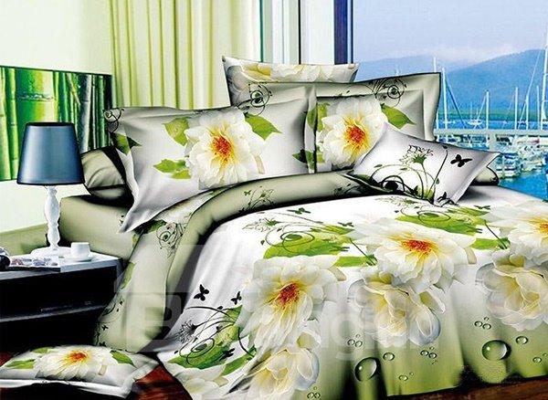 Virgin Flowers Print 4-Piece Polyester Duvet Cover Sets
