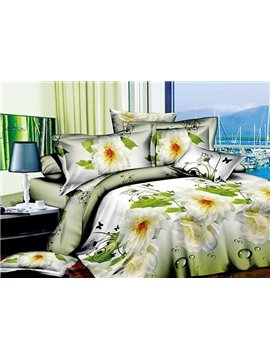 Virgin Flowers Print 4-Piece Polyester Duvet Cover Sets